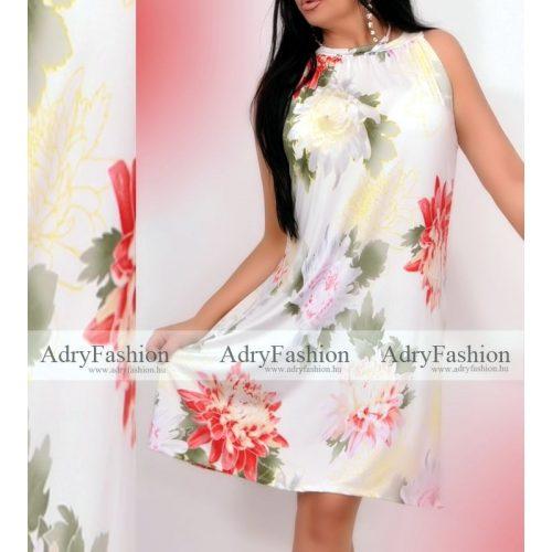 Fehér alapon szines virág mintás  A Vonalú lenge női ruha