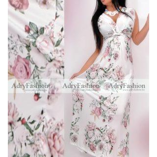 Fehér alapon virág mintás MAXI mellénél csavart nyári ruha