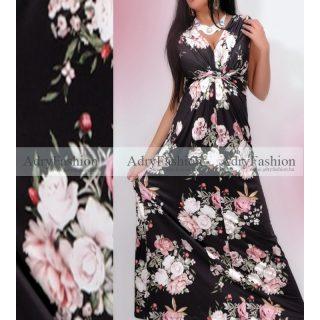 Fekete alapon  virág mintás MAXI átlapolt nyári ruha