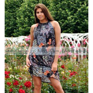 Fekete alapon virág mintás  A Vonalú lenge női ruha