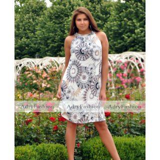 Törtfehér mandala - virág mintás  A Vonalú lenge női ruha