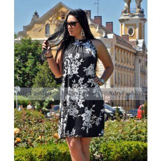 Fekete alapon fehér virág mintás  A Vonalú lenge női ruha