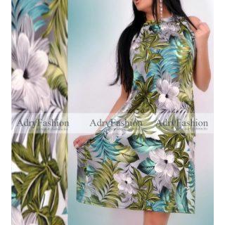 Zöld - szürke trópusi mintás  A Vonalú lenge női ruha