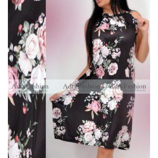 Fekete alapon rózsás A Vonalú lenge női ruha