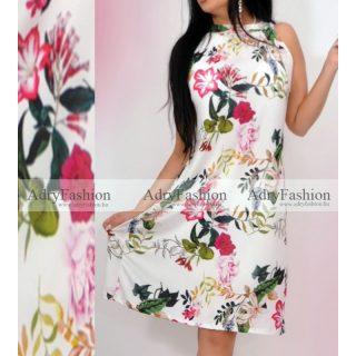Fehér alapon tavaszi virág mintás A Vonalú lenge női ruha