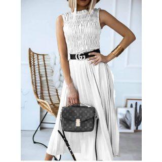 Fehér színű mellénél gumírozott plisszírozott maxi női ruha - öv nélkül