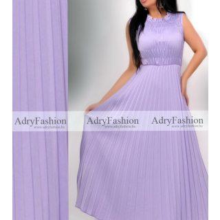 Lila színű mellénél gumírozott plisszírozott maxi női ruha - öv nélkül