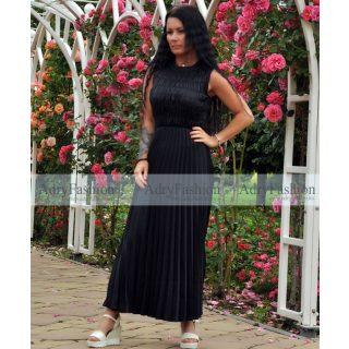 Fekete színű mellénél gumírozott plisszírozott maxi női ruha