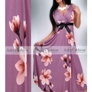 Lila  MÁLYVA virág mintás  női ruha megkötős