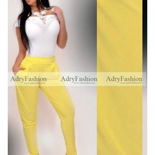 Citromsárga színű zsebes  nadrág