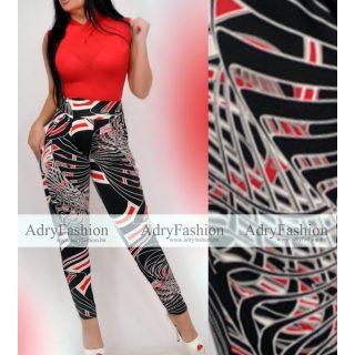 Fekete Drapp Piros mintás zsebes  nadrág