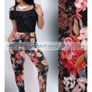 Fekete színes virágos  zsebes  nadrág