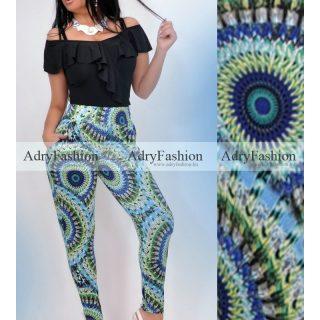 Kék - zöld - sárga mintás  zsebes  nadrág