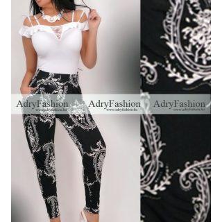 Fekete - fehér mintás  zsebes  nadrág