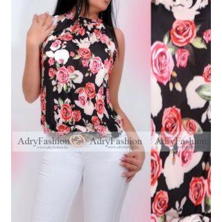 Fekete színű Rózsa mintás lenge nyakba köthető felső nyakánál megkötős