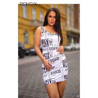 Rensix fehér fekete mintás poliamid ruha