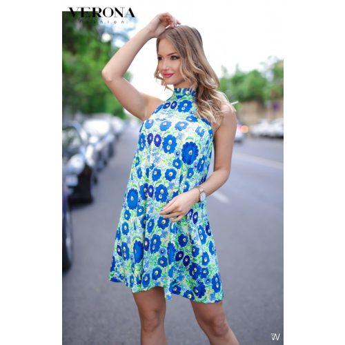 Verona kék matyó mintás női ruhaÁ vonalú lenge S