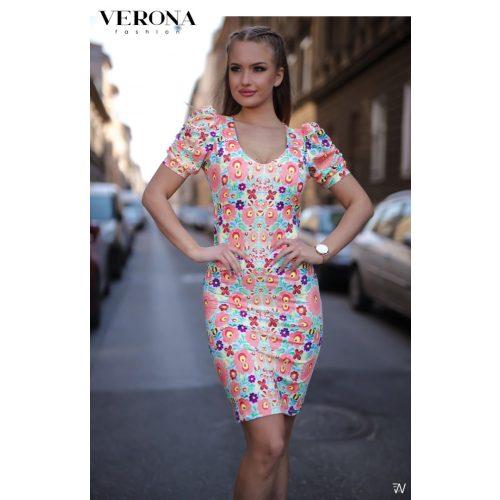 Verona matyó mintás női ruha buggyos ujjú   S es