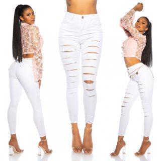 Fehér szaggatott nadrág
