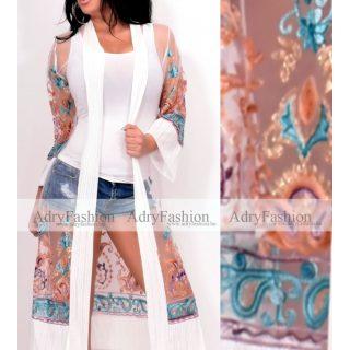 Fehér SZÍNŰ alul türkiz arany színes hímzett kimonó kardigán - strand ruha