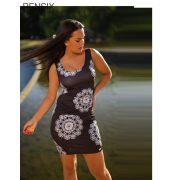 Rensix fekete mintás trikó ruha