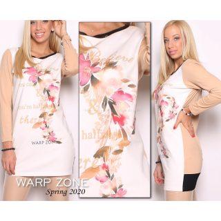 Warp Zone pasztel Bézs színű hosszú ujjú női ruha tunika