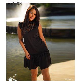 Rensix fekete alul fodros A vonalú női ruha