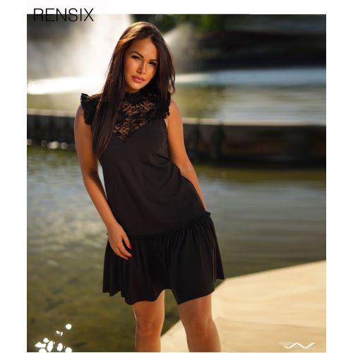 Rensix fekete alul fodros A vonalú női ruha AdryFashion nő