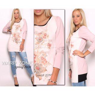 Warp Zone pasztel rózsaszín színű hosszú ujjú női ruha tunika