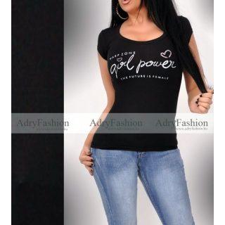 Warp Zone fekete feliratos rövid ujjú női pamut póló