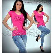 Warp Zone pink feliratos női pamut póló M/38