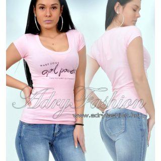 Warp Zone rózsaszín feliratos női pamut póló
