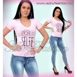 Warp Zone rózsaszín SELFIE feliratos női pamut póló S/36