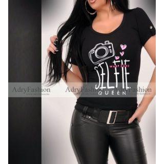 Warp Zone fekete színű  SELFIE feliratos női pamut póló