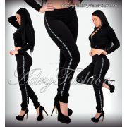 Warp Zone Fekete gumis derekú oldalt csíkkal díszített  nadrág
