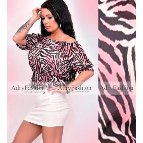 Pink tigris mintás muszlin felső vállra húzható