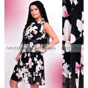 Fekete - fehér muszlin virág mintás ruha