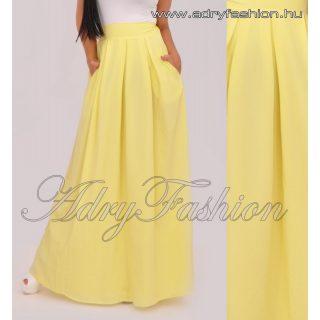 Sárga színű elegáns maxi szoknya zsebes