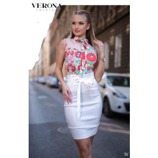 Menta fehér matyó mintás  női felső megkötős S - es Verona