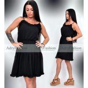 Fekete színű női ruha Selymes tapintású fodros nyári ruha