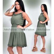 Keki színű női ruha Selymes tapintású fodros nyári ruha