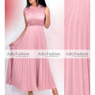 Mályva színű rakott maxi ruha - plisszírozott