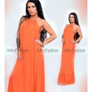 Narancssárga gumírozott nyakban megköthető maxi ruha