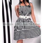 Fekete fehér csíkos fodros női ruha