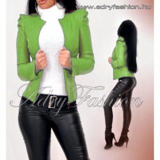 Kiwi zöld  színű buggyos ujjú műbőr  blézer zakó