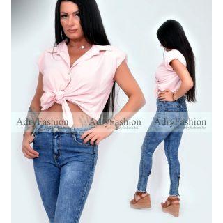 Rózsaszín puffos ujjú megkötős ing
