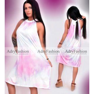 Batikolt kék pink A vonalú ruha