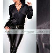 Fekete színű fényes elegáns alkalmi női ing