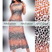 Fekete szürke  barna párduc mintás maxi selyem ruha