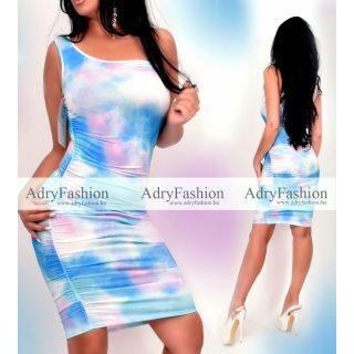 Kék batikolt félvállas női ruha